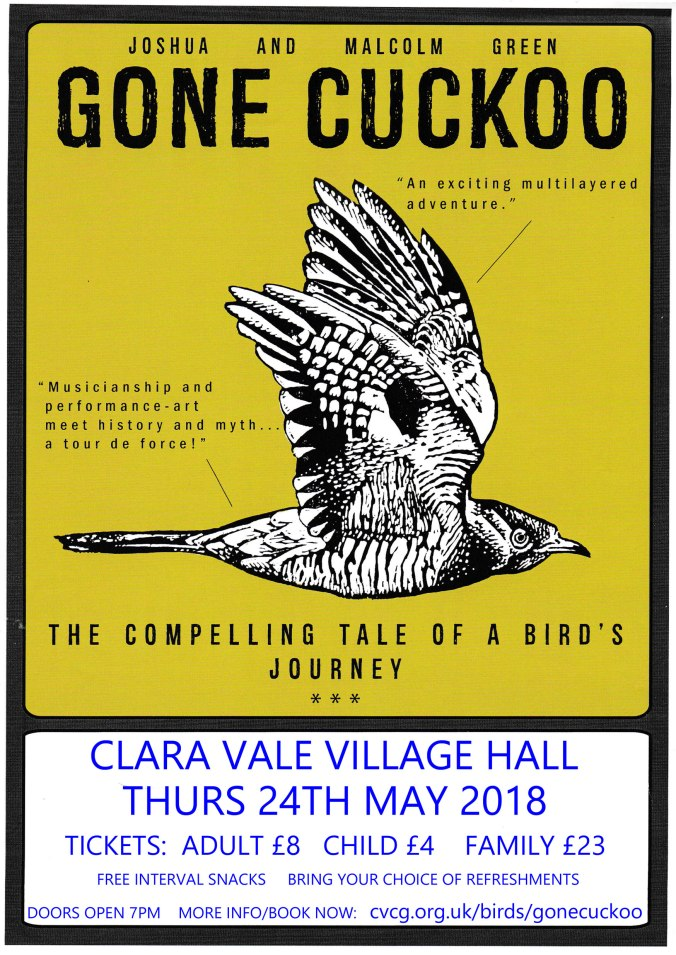 Gone Cuckoo family entertainment event at Clara Vale Village Hall 24th May 2018